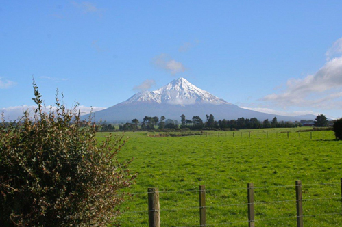 View of Mt. Taranaki from TAG Oil's Cheal-C site