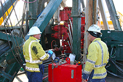 Webster Drilling crew pressure testing BOP's on Nova-1 before perforating Cheal A12, to ensure it's able to control the flow