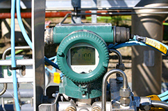 Gas meter at Cheal plant showing 110% of rated gas capacity presently flowing