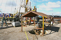 """More """"Behind Pipe"""" wells at Cheal C-Site. This is Cheal C-3 in front of Ensign Rig #6 which is completing Cheal C-4"""