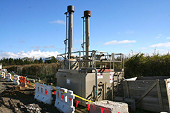 """No more flaring to dirt pits for TAG! This is one of our new """"flare stacks"""" with built in containment"""