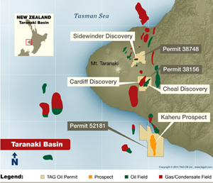 TAG Oil's Map of Taranaki Basin, New Zealand